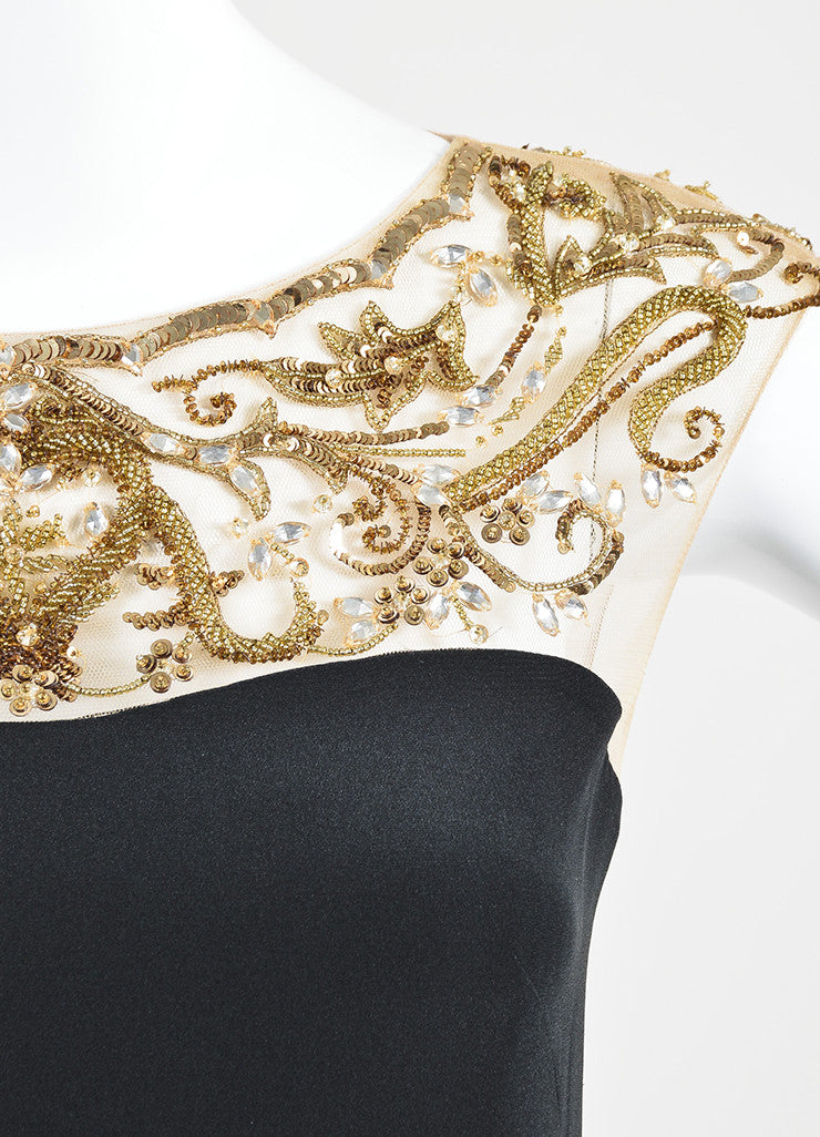 Black and Gold Marchesa Notte Silk Sequin Embellished Cap Sleeve Gown Detail