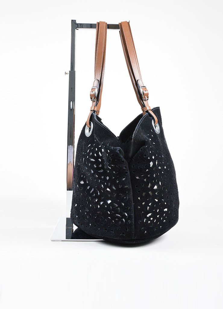 Black Suede Marni Laser Cut Out Tote Bag Side
