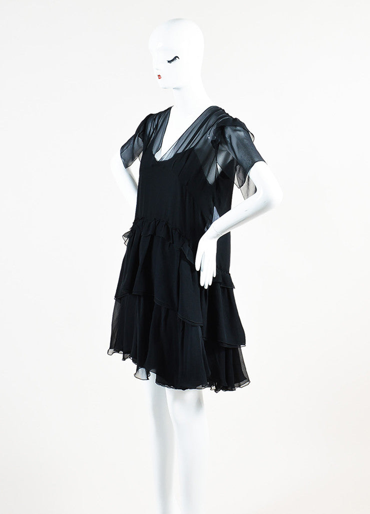 Miu Miu Black Silk Sheer V-Neck Short Sleeve Ruffled Dress Sideview