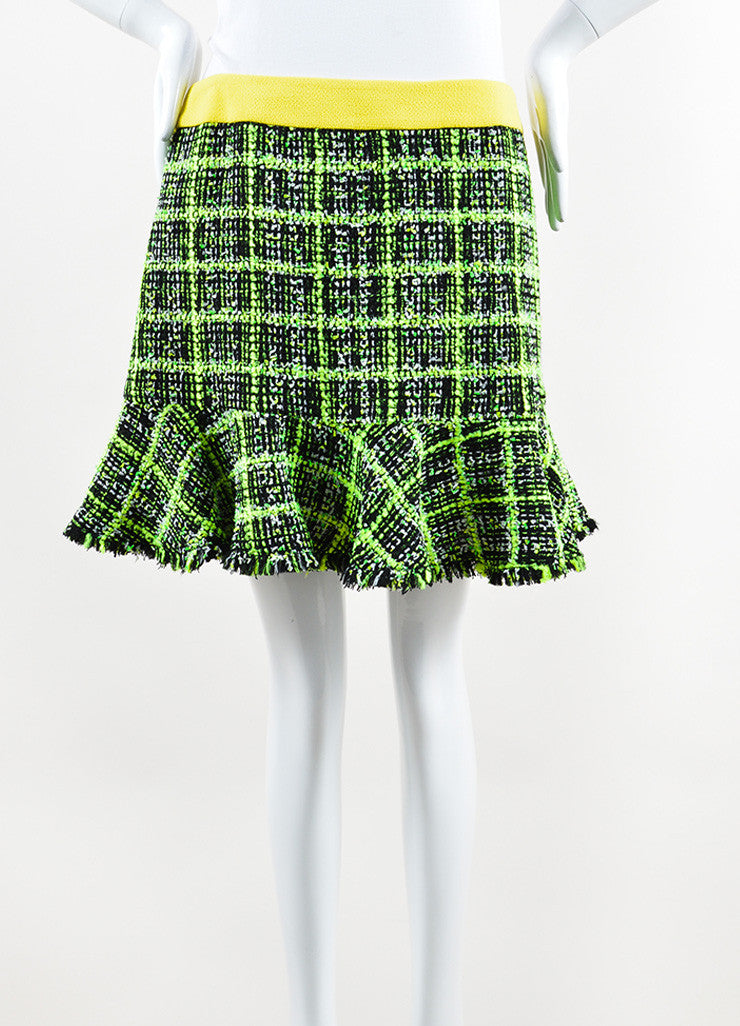Neon Yellow, Green and Black Moschino Cheap and Chic Tweed Skirt Front