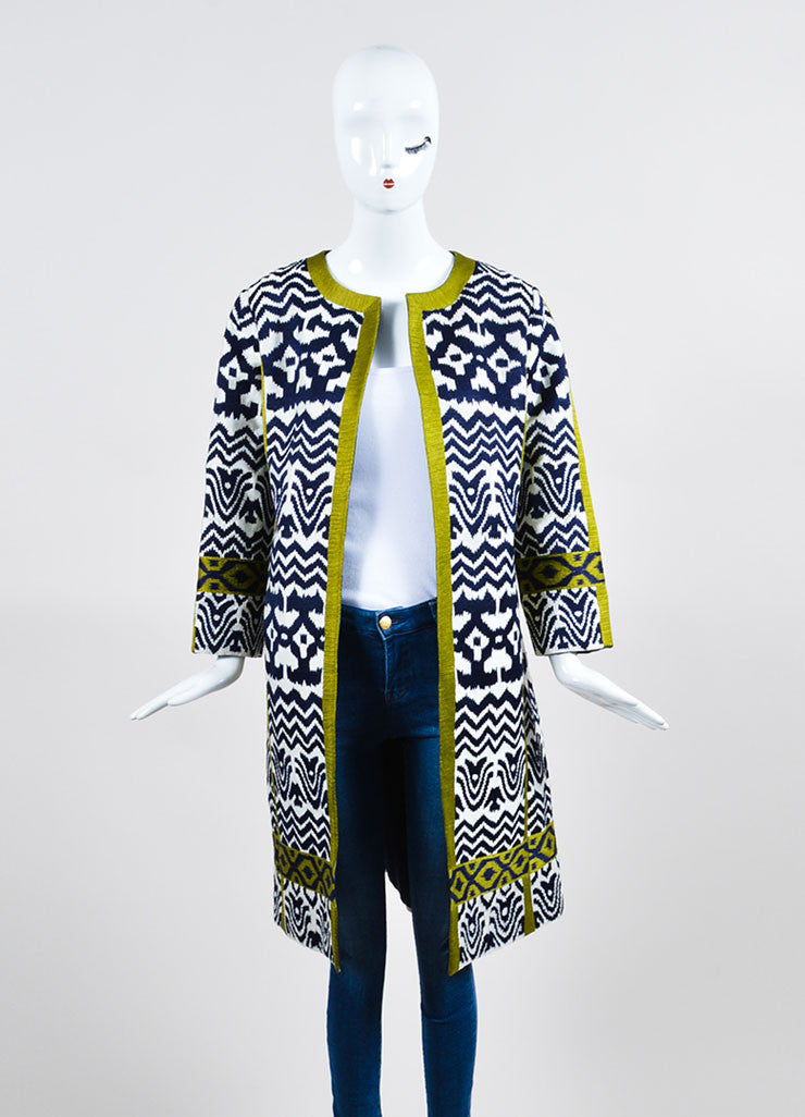 White, Navy, and Green Oscar de la Renta Jacquard Weave Sequin Coat Frontview
