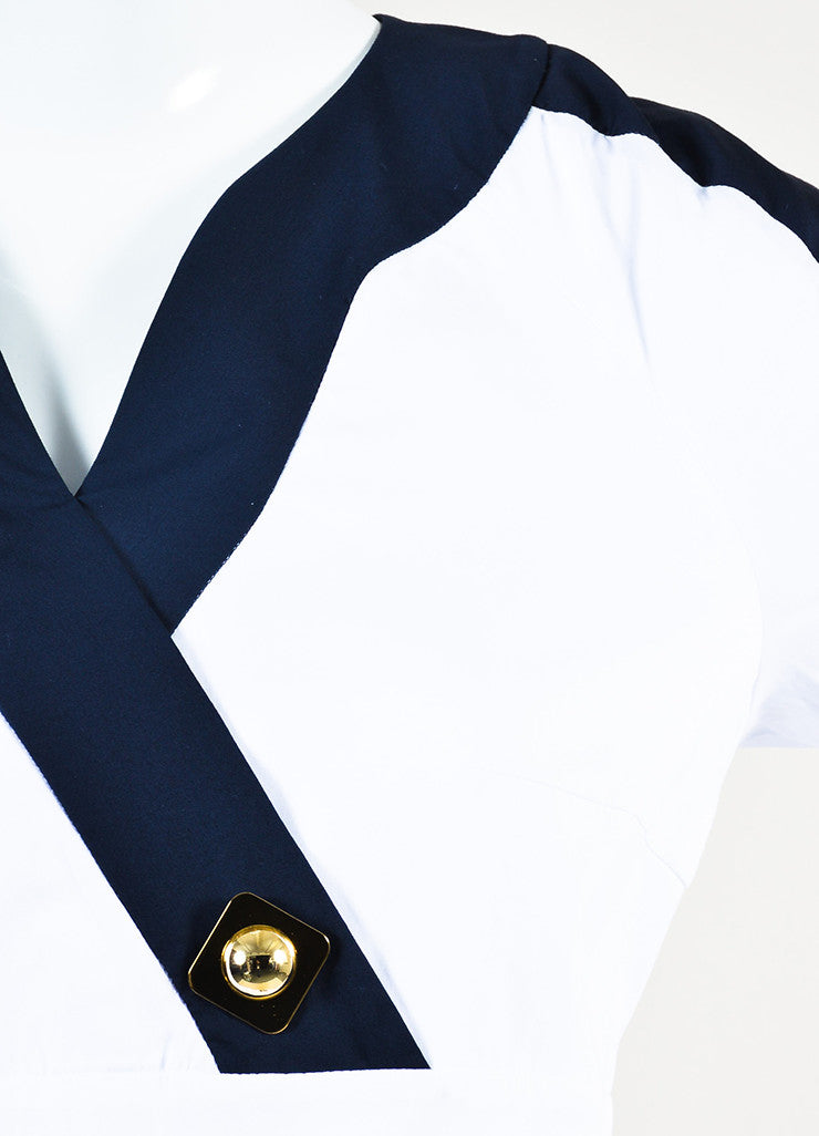 "White & Navy Peter Pilotto Cotton Buttoned ""Penta"" Dress Detail"