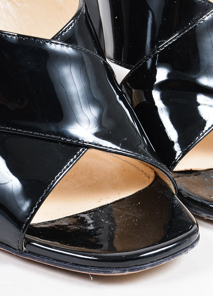 Prada Black Patent Leather Cross Strap Chunky Sandal Heels Detail
