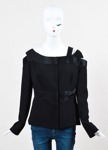 Prada NWT Black Virgin Wool Cut Out Snap Front Jacket front