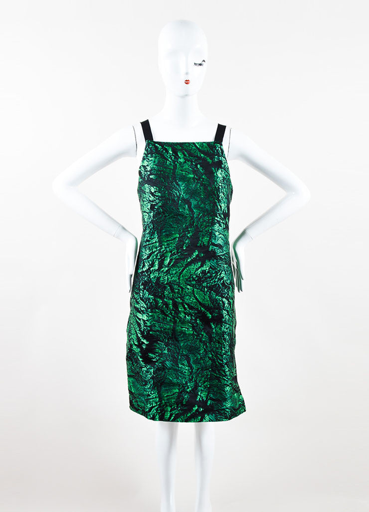 Proenza Schouler Green and Black Jacquard Shift Dress Front