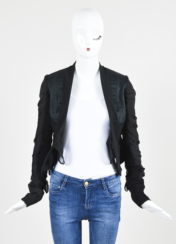 Rick Owens Black Silk Blend Multi Tie Detail Structured Jacket Frontview