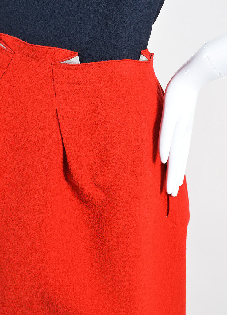 Red Roland Mouret Wool Zipper Knee Length Flared A-Line Skirt Detail