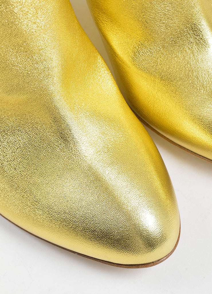 "Gold Metallic and Clear Rupert Sanderson ""Cupid"" Wedge Booties Detail"