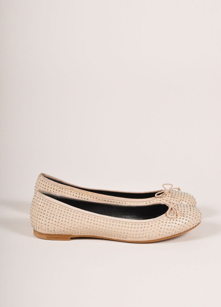 Saint Laurent New In Box Beige Leather Palladium Microstud Ballerina Flats Sideview