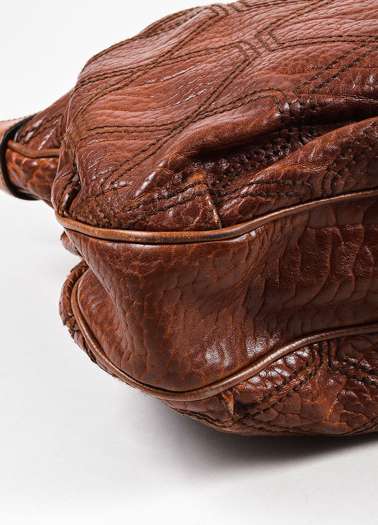 "Salvatore Ferragamo Brown Pebbled Leather Quilted Stitch ""Celtico"" Shoulder Bag Detail"
