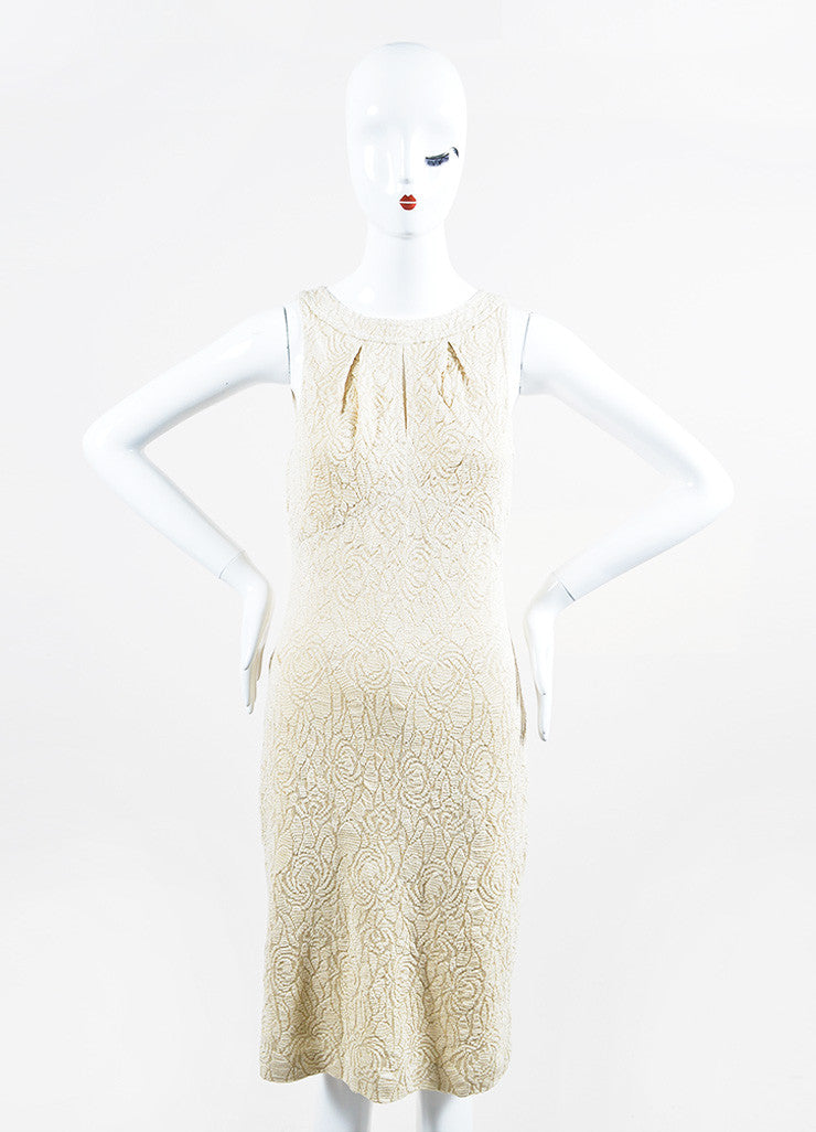 St. John Vanilla and Metallic Gold Wool Blend Sleeveless Sheath Dress Frontview