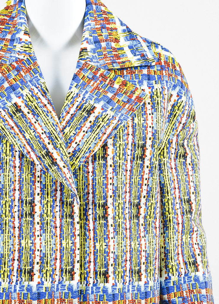 "Stella Jean Blue, Yellow, and White Cotton Printed ""Agente"" Overcoat Detail"