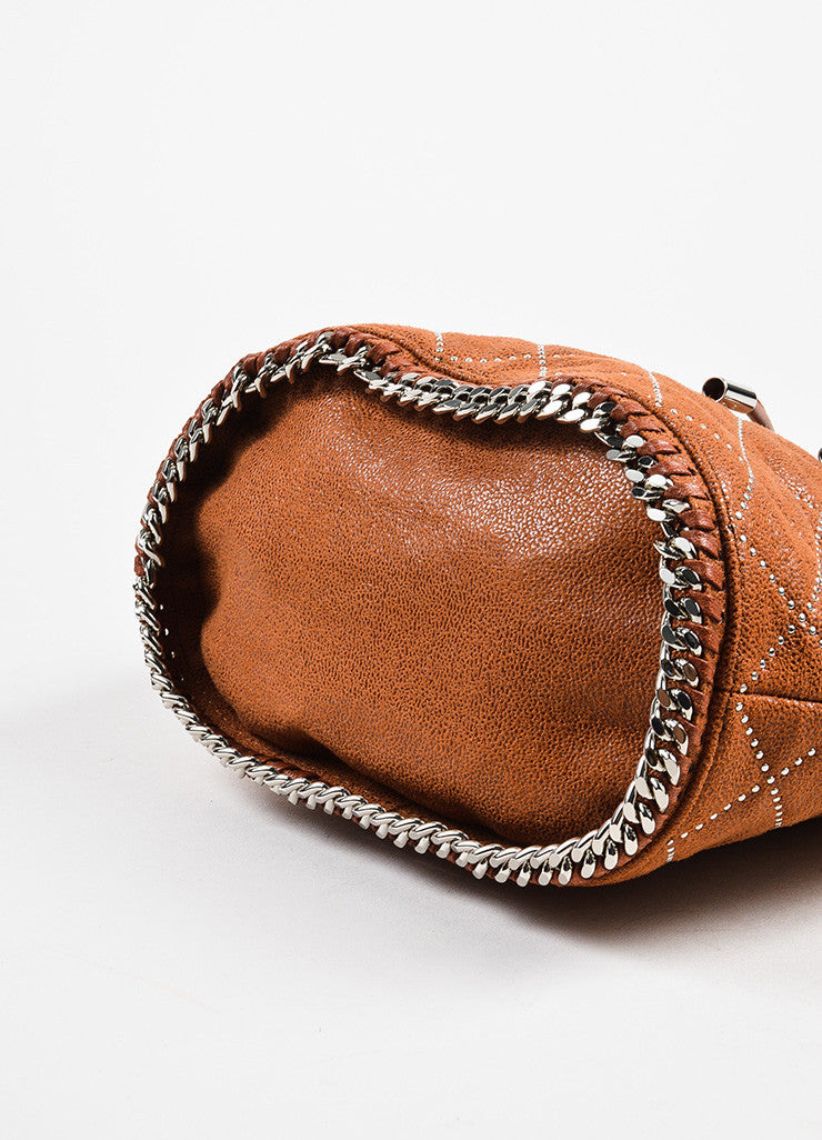 Stella McCartney Cognac Vegan Leather Studded Quilted Mini Bucket Bag Bottom View