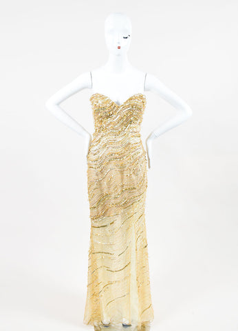 Gold Metallic Mesh Beaded Sequin Embellished Stephen Yearick Strapless Gown Frontview