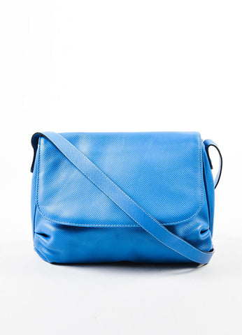 Bottega Veneta Light Blue Textured Leather Crossbody Flap Bag Frontview