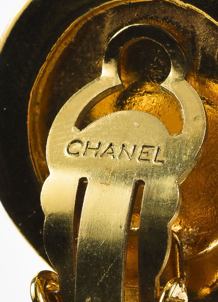 Gold Toned Chanel Mirror 'CC' Bow Oversized Clip On Statement Earrings