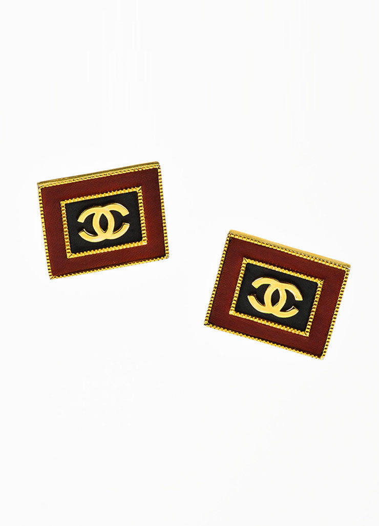 Gold Toned, Red, and Black Leather Chanel 'CC' Square Clip On Earrings Frontview