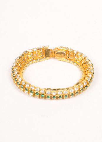 DeLillo Gold Toned and Green Rhinestone Bracelet Sideview
