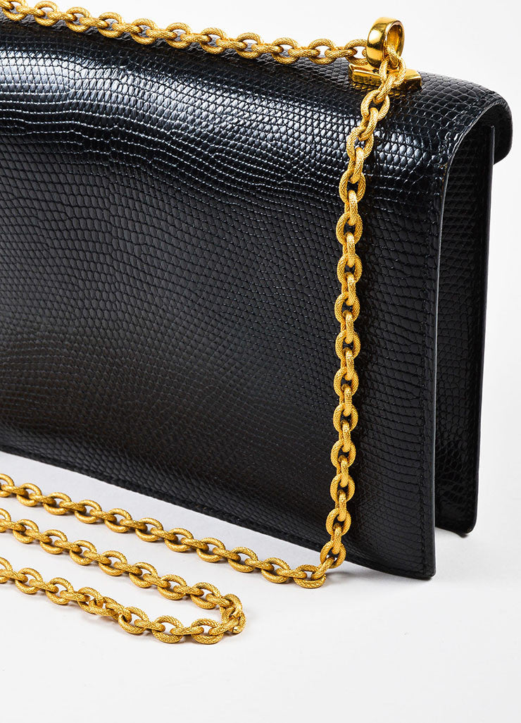 "Hermes Black Lizard Gold Toned Metal Chain ""Alcazar"" Shoulder Bag Detail 2"