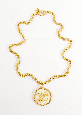 "Gold Toned Acrylic Karl Lagerfeld ""KL"" Initial Scalloped Pendant Necklace Frontview"