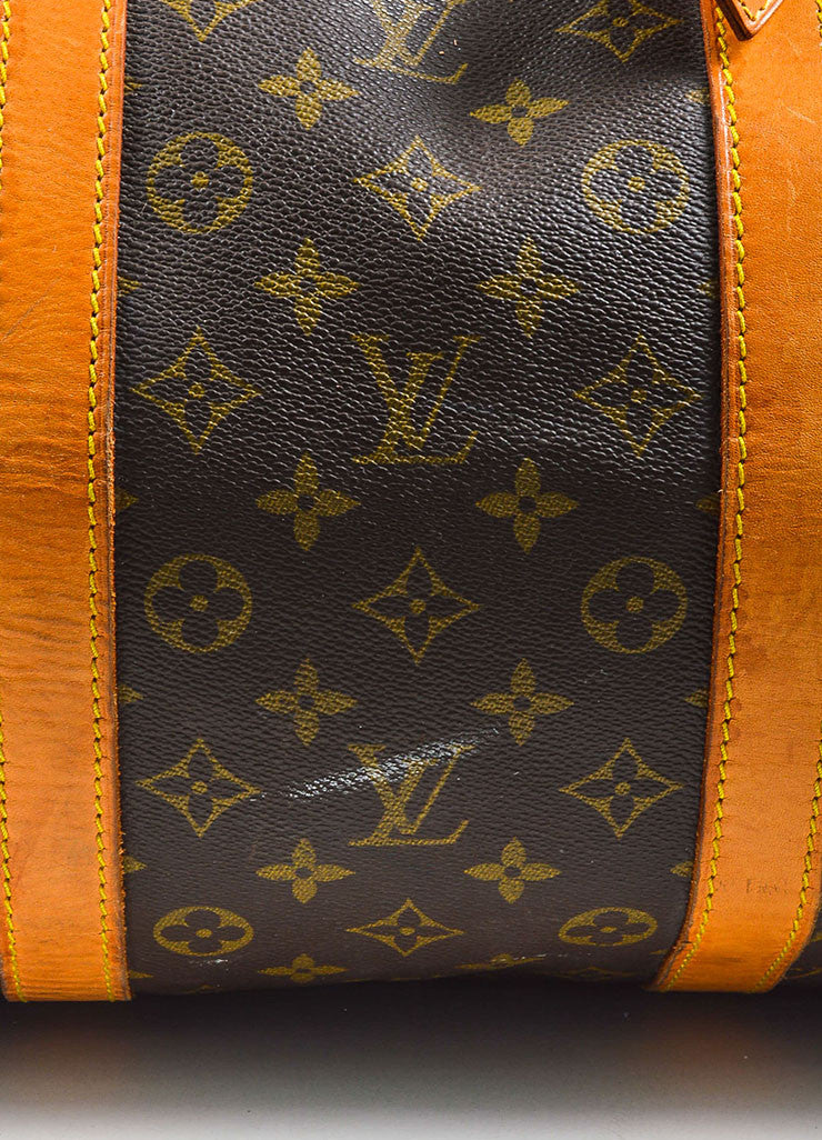 "Louis Vuitton Brown and Tan Coated Canvas and Leather Monogram ""Keepall 60"" Bag Detail 4"