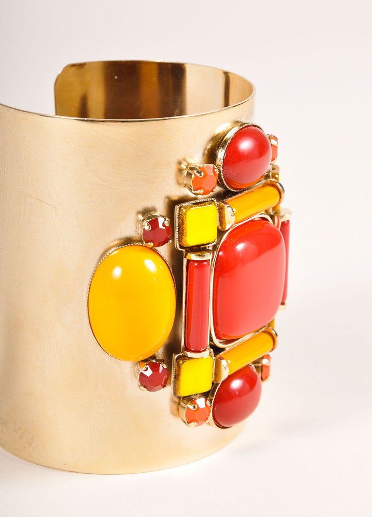 Philippe Ferrandis Gold Toned, Red, and Orange Metal and Stone Wide Cuff Bracelet Sideview