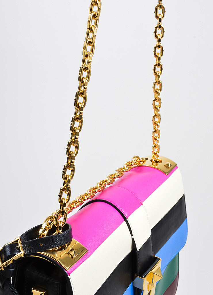"Multicolor Valentino Garavani Leather Stripe ""B Rockstud"" Flap Handbag Detail 2"