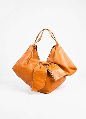 "Valentino Garavani Tan Leather Oversized Stitching Bow Detail ""360"" Shoulder Bag angle"