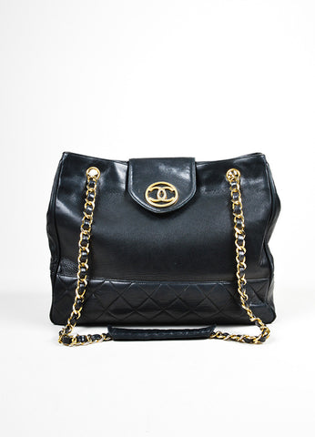 Black Chanel Quilted Leather Gold Toned Chain Strap Shopper Tote Bag Frontview