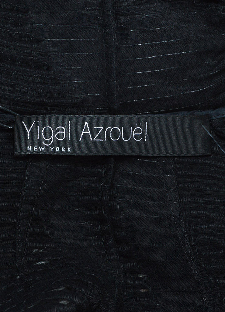 Yigal Azrouel  Black Wool Sheer Cut Out Asymmetrical Jacket Brand