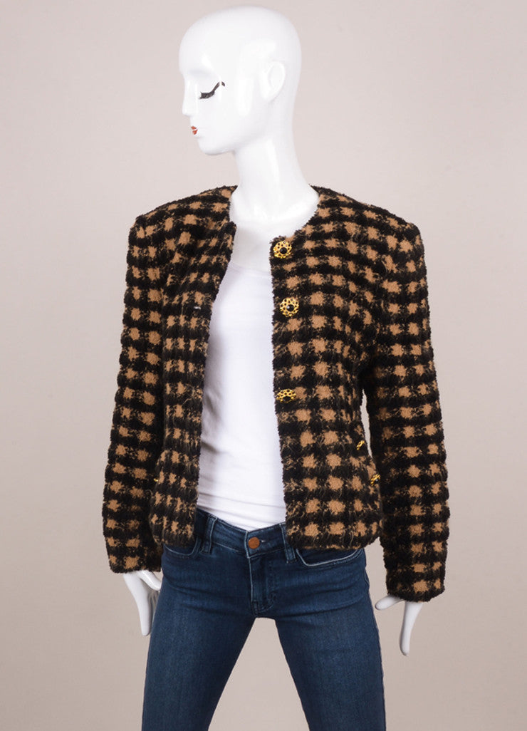 Black and Tan Louis Feraud Check Print Knit Long Sleeve Jacket