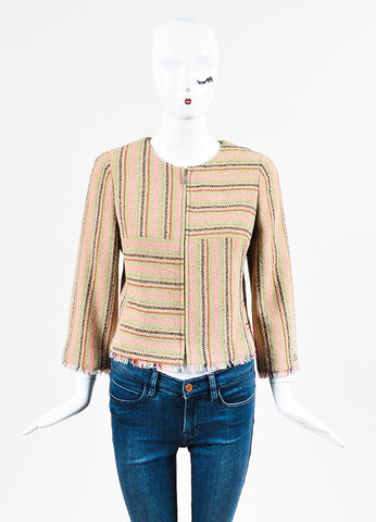 Chanel Pink, Green, and Tan Striped Zip Up Fringe Jacket Frontview