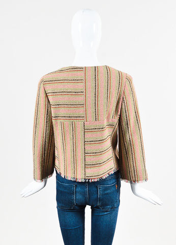 Chanel Pink, Green, and Tan Striped Zip Up Fringe Jacket Backview