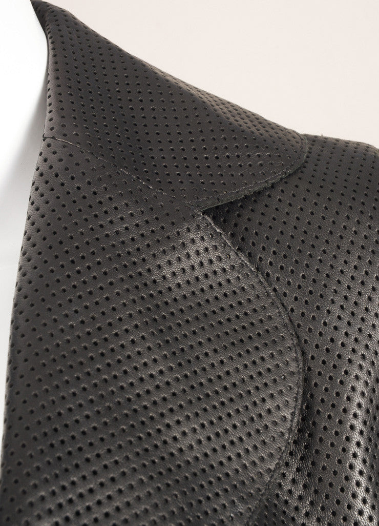 Akris Black Perforated Leather Long Sleeve Open Front Collared Jacket Detail