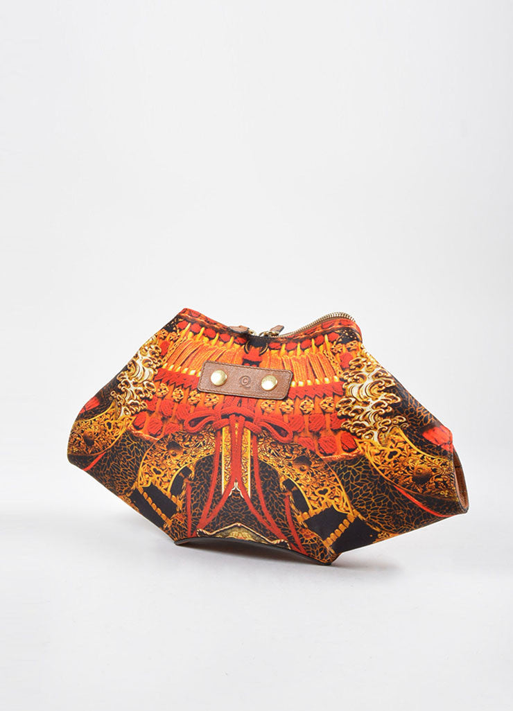 "Gold, Orange, and Black Alexander McQueen Regal Print ""De Manta"" Clutch Bag"