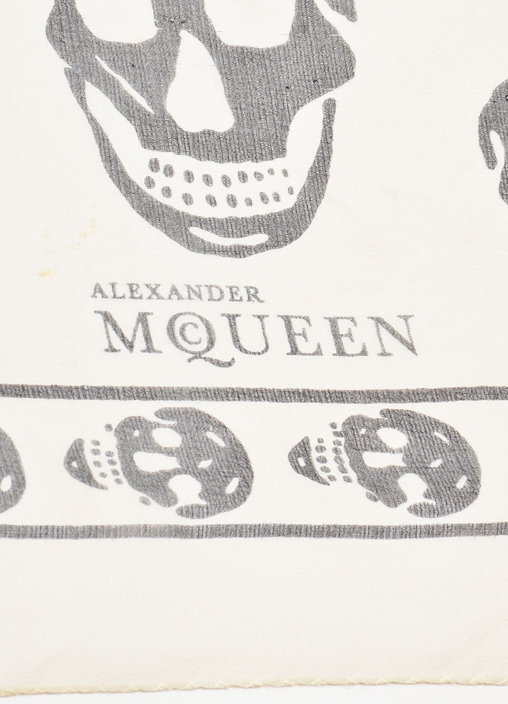 Alexander McQueen Cream and Black Silk Skull Print Sheer Scarf brand