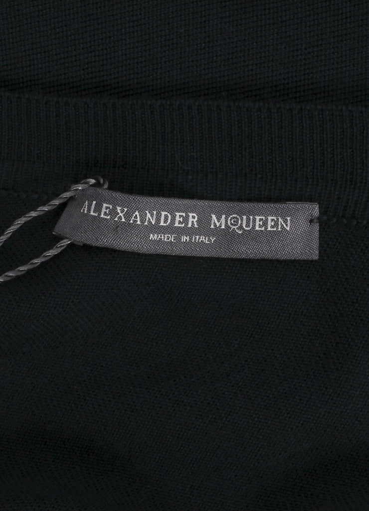 Alexander McQueen New With Tags Forest Green Bent Boat Neck Wool Knit Dress Brand
