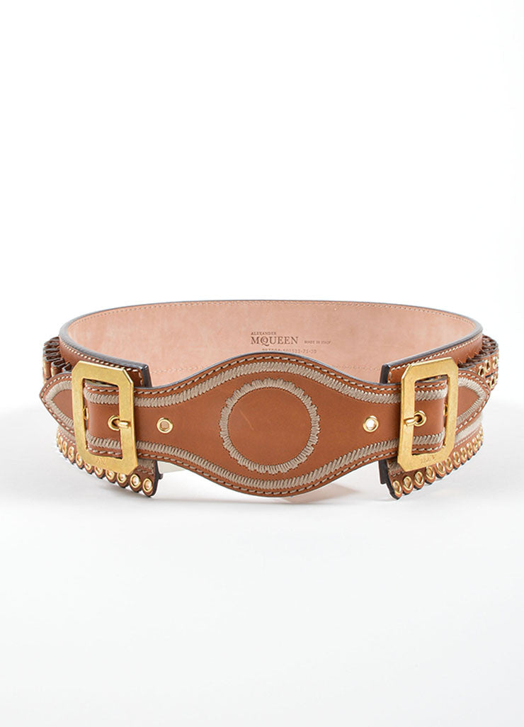 Alexander McQueen Brown Leather Gold Tone Grommet Waist Belt Front