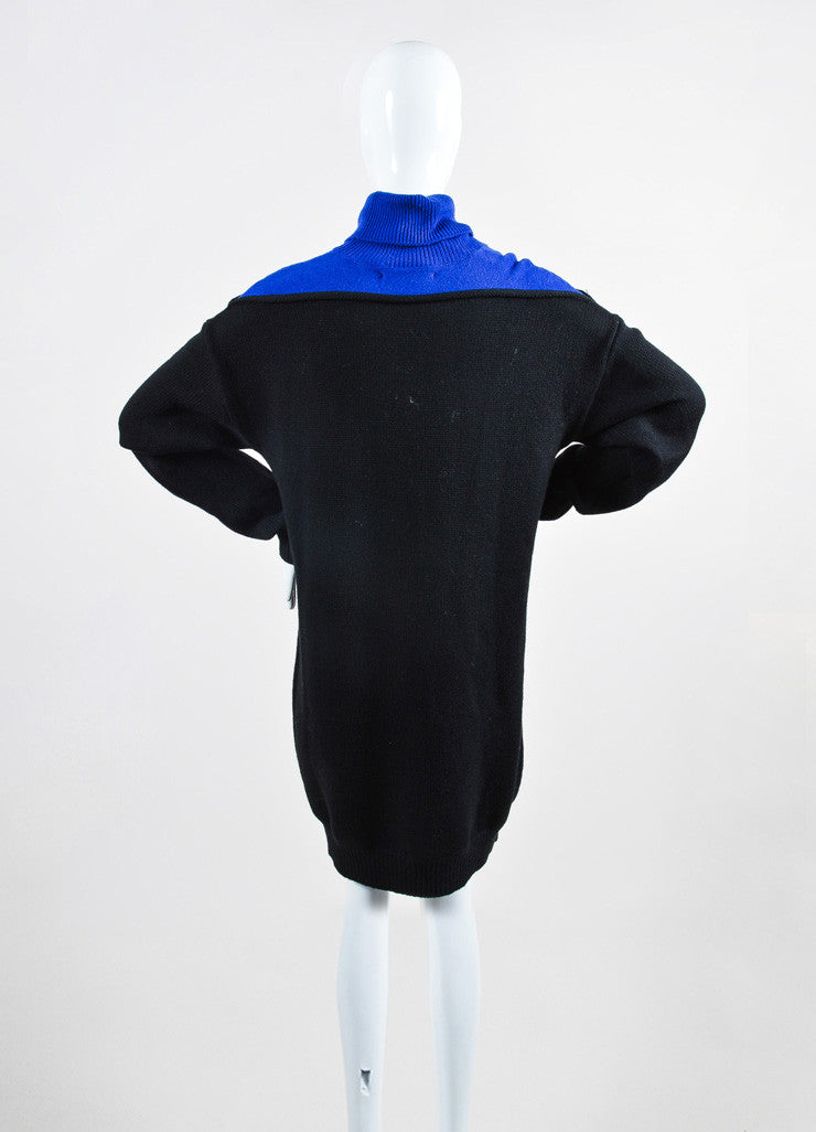 "Black and Cobalt Alexander Wang Wool Turtlenck ""Splittable"" Sweater Dress Backview"