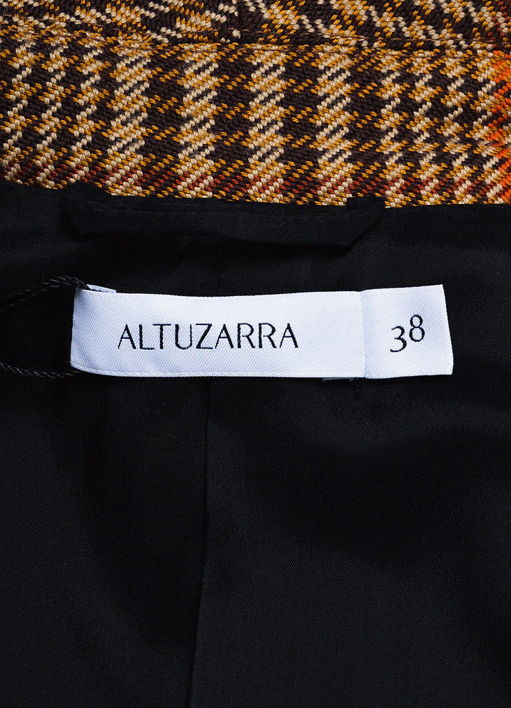 "Brown, Tan, and Orange Altuzarra Houndstooth ""Cooper"" Long Coat Brand"