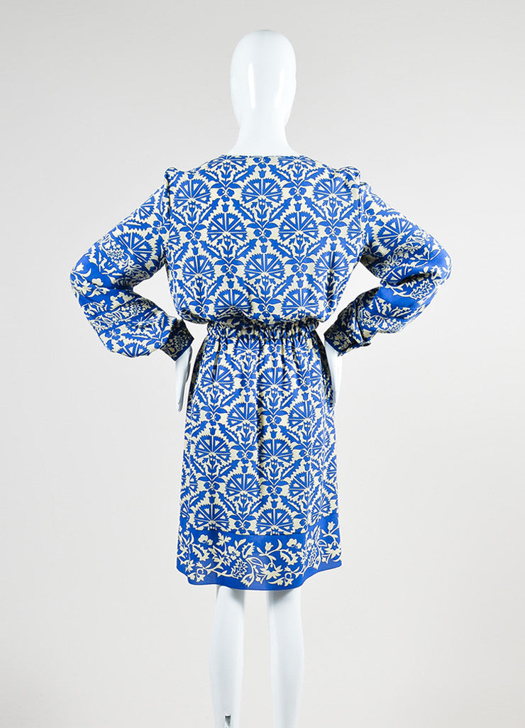 Royal Blue and Cream Andrew Gn Silk Floral Print Long Sleeve Dress Backview