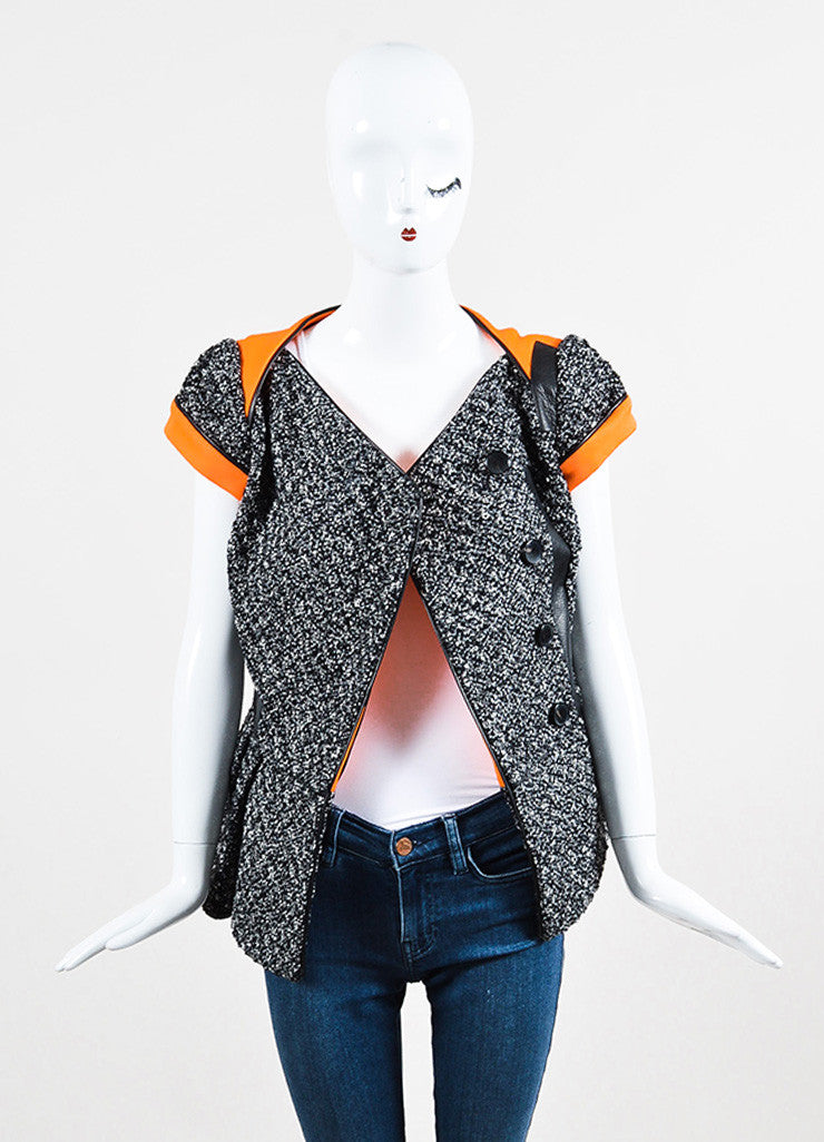 Antonio Berardi Black, White, and Orange Cotton and Faux Leather Cinched Short Sleeve Jacket Frontview