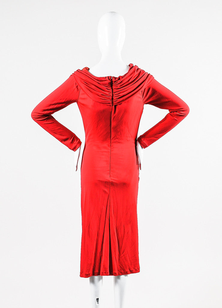 Red Badgley Mischka Stretch Jersey Crepe Long Sleeve Ruched Dress Back