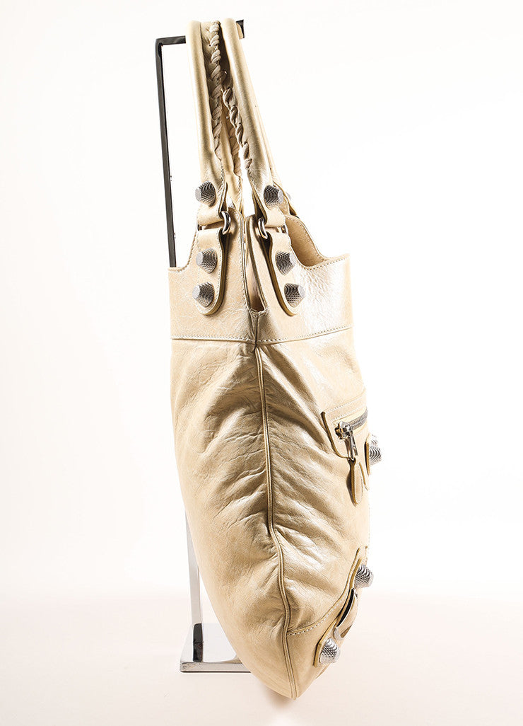 Balenciaga Tan Lambskin Studded Tote Bag Sideview