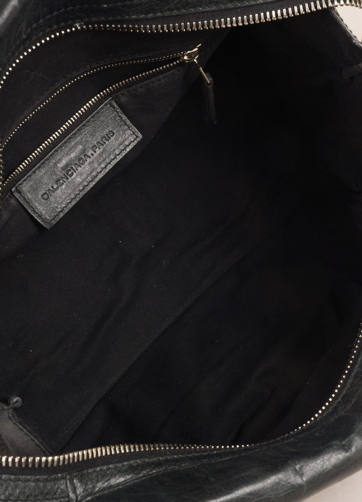 "Balenciaga Black Crinkle Leather Studded ""Arena Work"" Bag Interior"