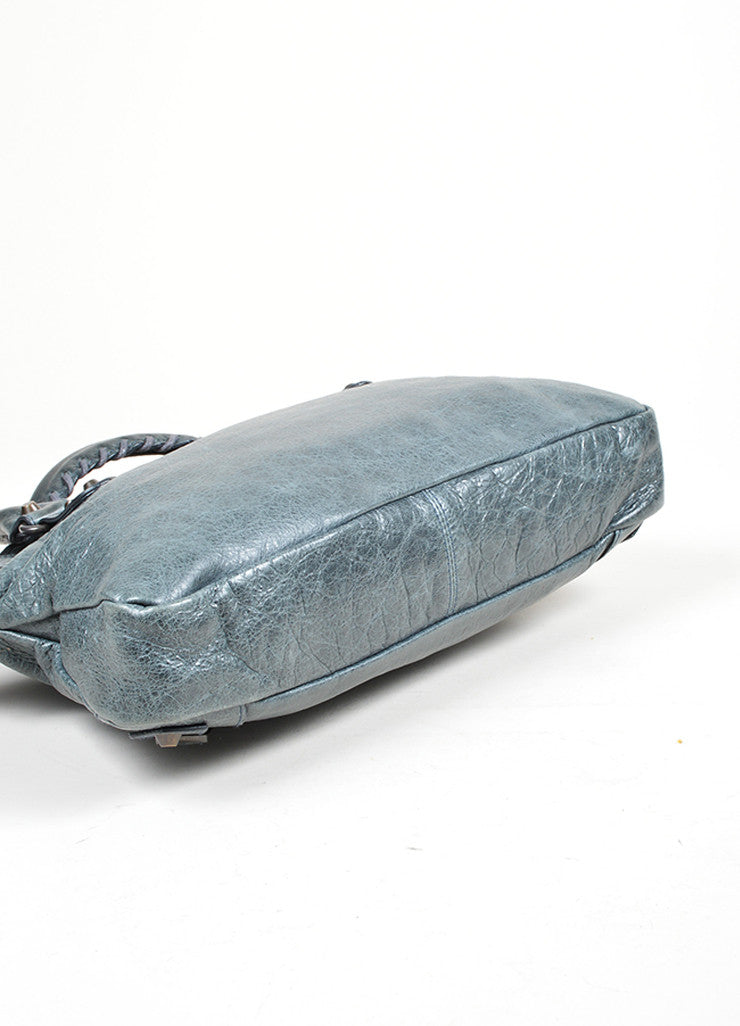 "Grey-Blue Balenciaga Cracked Leather ""Mini City"" Zip Satchel Shoulder Bag Bottom View"