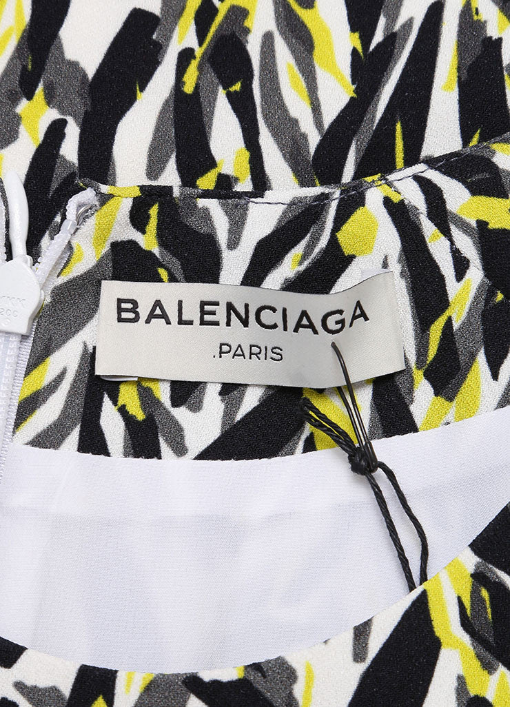 Balenciaga New With Tags White, Black, Neon Yellow Graphic Print Belted Dress Brand