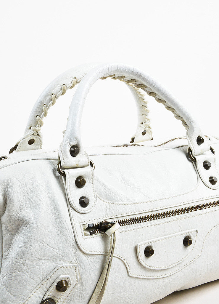 "Balenciaga White Leather Classic Stud ""Twiggy"" Satchel Bag Detail 2"