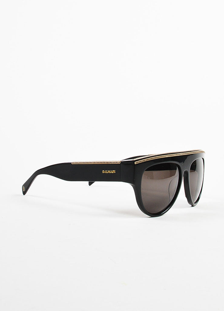 Balmain Black, Grey, and Gold Toned Chain Detailed Dark Tinted Shield Sunglasses Sideview