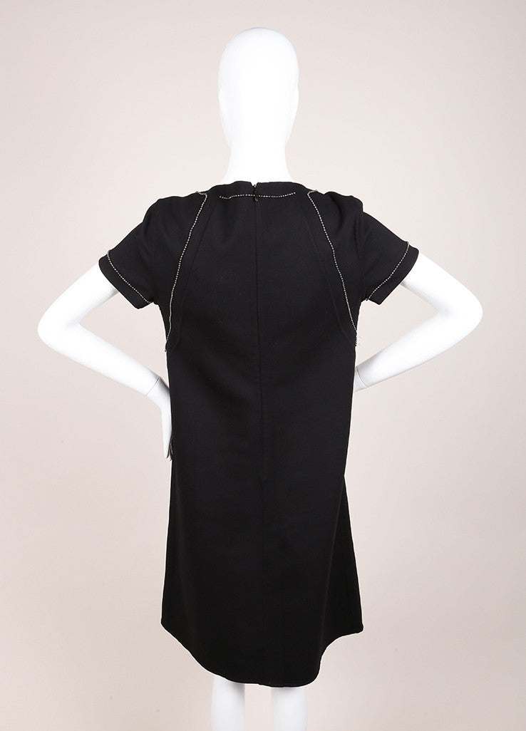 Bottega Veneta New With Tags Black Wool Short Sleeve Beaded Shift Dress Backview
